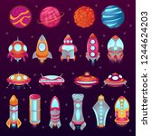 set of space colorful cartoon...