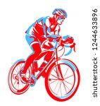 the sketch of triathlon athlete ... | Shutterstock .eps vector #1244633896