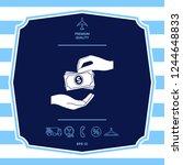 receiving money banknotes stack ... | Shutterstock .eps vector #1244648833
