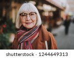portrait of stylish old lady in ... | Shutterstock . vector #1244649313