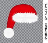 santa claus hat  isolated on... | Shutterstock .eps vector #1244661196