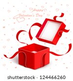 open gift box with red ribbon   Shutterstock .eps vector #124466260