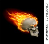 raster version. skull on fire... | Shutterstock . vector #1244670460