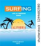 california surfing stock vector ... | Shutterstock .eps vector #1244682580