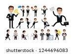 flat set   businessman work in... | Shutterstock .eps vector #1244696083