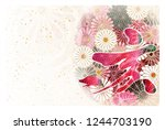 boar new year card japanese... | Shutterstock . vector #1244703190