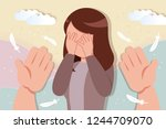 comfort an upset and depressed... | Shutterstock .eps vector #1244709070
