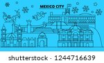 mexico winter holidays skyline. ... | Shutterstock .eps vector #1244716639