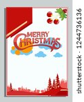 christmas greeting card with... | Shutterstock .eps vector #1244736136