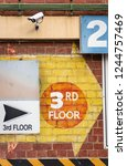 two 3rd floor signs among... | Shutterstock . vector #1244757469