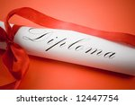 Diploma with red ribbon on red background - stock photo