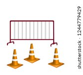 orange traffic cone and crowd... | Shutterstock .eps vector #1244779429