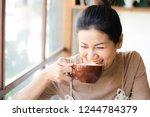 portrait of asian woman smiling ... | Shutterstock . vector #1244784379