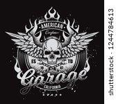 vintage  vector moto... | Shutterstock .eps vector #1244784613