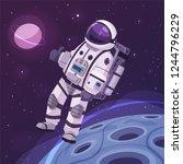 cosmonaut character in outer... | Shutterstock .eps vector #1244796229