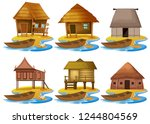 Set Of Different Wooden House...