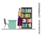 woman with bookshelf desk and... | Shutterstock .eps vector #1244806603
