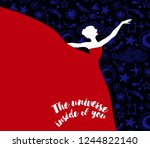ballerina in red dress on... | Shutterstock .eps vector #1244822140
