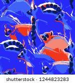 seamless pattern of wild lemurs ... | Shutterstock .eps vector #1244823283