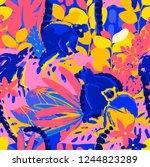 the wild lemurs sitting among...   Shutterstock .eps vector #1244823289