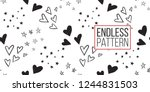 hen party seamless pattern with ... | Shutterstock .eps vector #1244831503