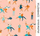 dancing people in 50s retro... | Shutterstock .eps vector #1244840716