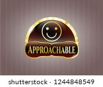gold badge with happy face... | Shutterstock .eps vector #1244848549
