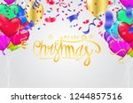 christmas party poster template ... | Shutterstock .eps vector #1244857516