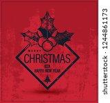 christmas banner on red... | Shutterstock .eps vector #1244861173