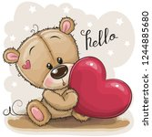 Cute Cartoon Teddy Bear With...