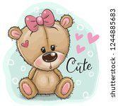 greeting card cute teddy bear... | Shutterstock .eps vector #1244885683