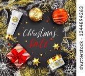 christmas sale vector card.... | Shutterstock .eps vector #1244894263