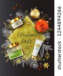 christmas sale vector poster.... | Shutterstock .eps vector #1244894266