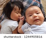 asian little girl and new born... | Shutterstock . vector #1244905816