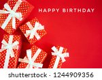 happy birthday with gift box on ... | Shutterstock . vector #1244909356