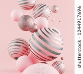 flying pink and golden spheres. ... | Shutterstock . vector #1244917696