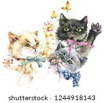 Stock photo cute kittens playing cats watercolor illustration 1244918143