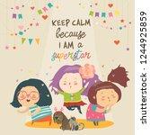 cute cartoon girls superstar...   Shutterstock .eps vector #1244925859