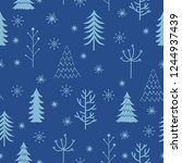 winter theme seamless pattern... | Shutterstock .eps vector #1244937439