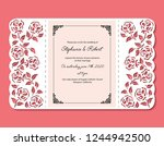 laser cut template of wedding...   Shutterstock .eps vector #1244942500
