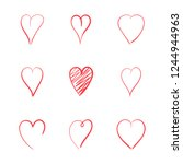 hend drawn red hearts. love...   Shutterstock . vector #1244944963