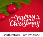 merry christmas lettering on a... | Shutterstock . vector #1244945020