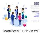 annual bonus of employees.man... | Shutterstock .eps vector #1244945599