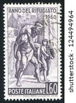 Small photo of ITALY - CIRCA 1960: stamp printed by Italy, shows Aeneas Fleeing with Father and Son, by Raphael, circa 1960