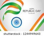 happy indian republic day.... | Shutterstock .eps vector #1244949643