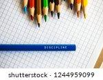 discipline word on a pencil.... | Shutterstock . vector #1244959099