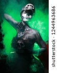 hot scary death bodyart woman... | Shutterstock . vector #1244963686