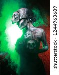 hot scary death bodyart woman... | Shutterstock . vector #1244963689