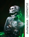 hot scary death bodyart woman... | Shutterstock . vector #1244963710