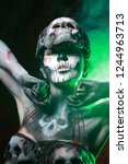 hot scary death bodyart woman... | Shutterstock . vector #1244963713